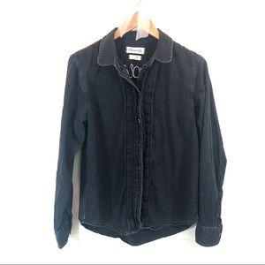 Madewell Black Chambray Pintuck Denim Shirt